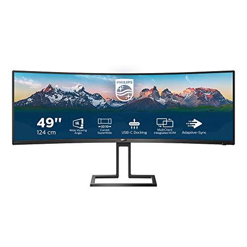 Philips 498P9 - 49 Zoll DQHD Curved Monitor, höhenverstellbar (5120x1440, 70 Hz, HDMI 2.0, DisplayPort, USB Hub) schwarz